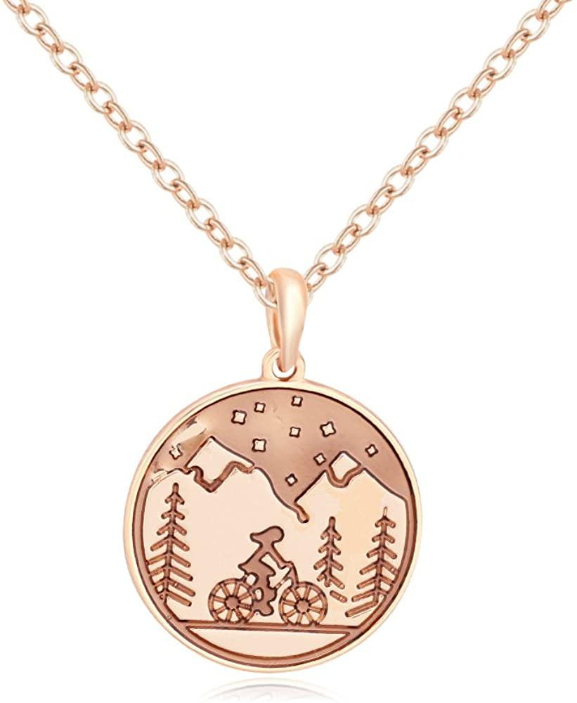 SENFAI 10K Gold Color Mountain Bike Girl Charm Pendant Necklace (Rose Gold)
