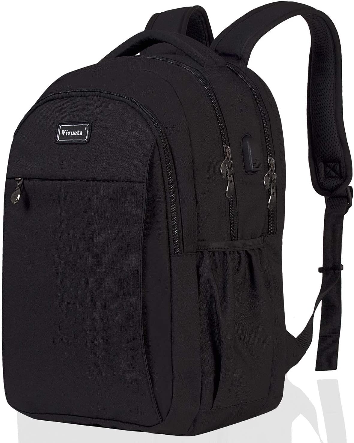Laptop Computer Backpack Travel College School Backpack for Men Women Black