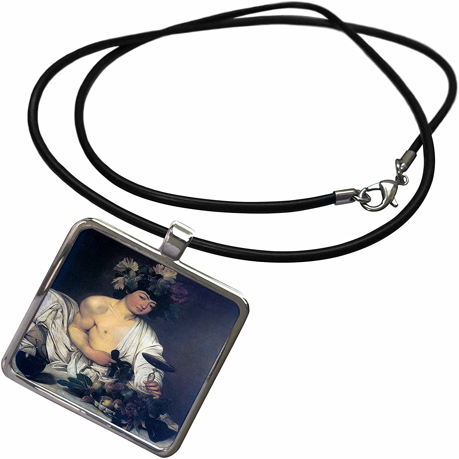 3dRose BLN Assorted Works of Fine Art Collection - The Young Bacchus by Caravaggio - Necklace with Rectangle Pendant (ncl_130141)
