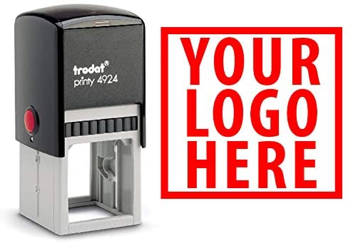 Upload Your Logo onto A Self Inking Stamp - Custom Business Logo Stamp (Red, 2