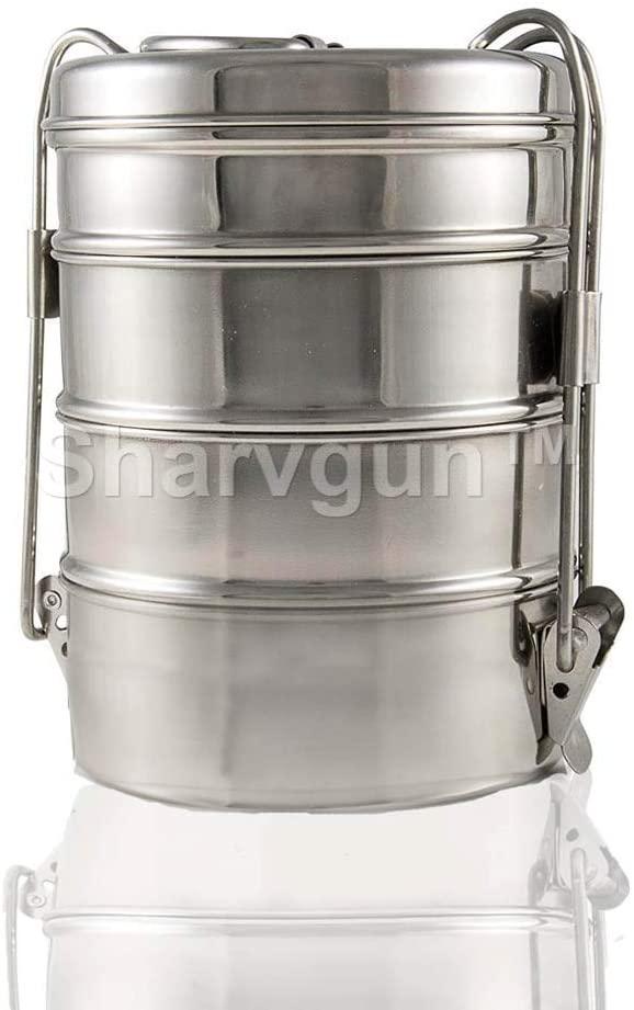 SharvgunTM 100% Stainless Steel Lunch Box- 4 Tier Indian Tiffin Box