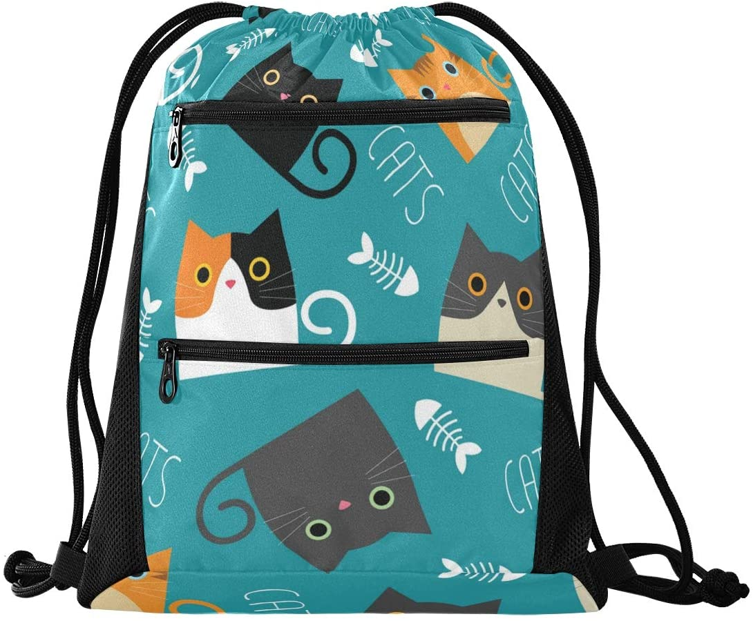 Drawstring Bag Cute Cats Lightweight Drawstring Backpacks for Beach Swimming Yoga Gym Travel with Zipper Mesh Pockets