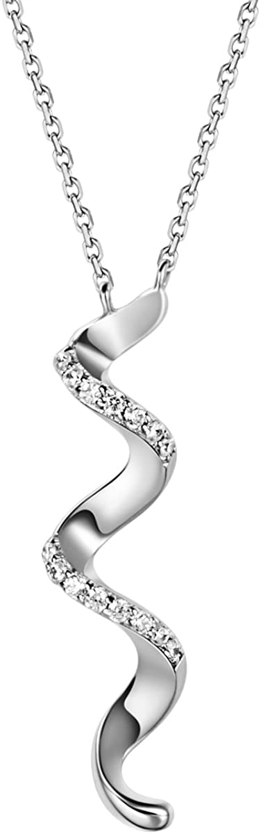 Carleen White Gold Plated Sterling Silver Cubic Zirconia CZ Twisted Wavy Simple Pendant Necklaces Jewelry Gifts for Women Girls Mom Her, 18 inch