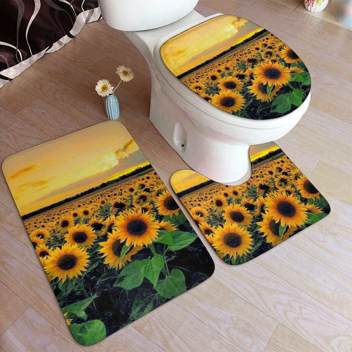 Bath Rugs Toilet Three-Piece Floor mat, Sunflowers Flannel Embossing Bath Rugs 50x80cm