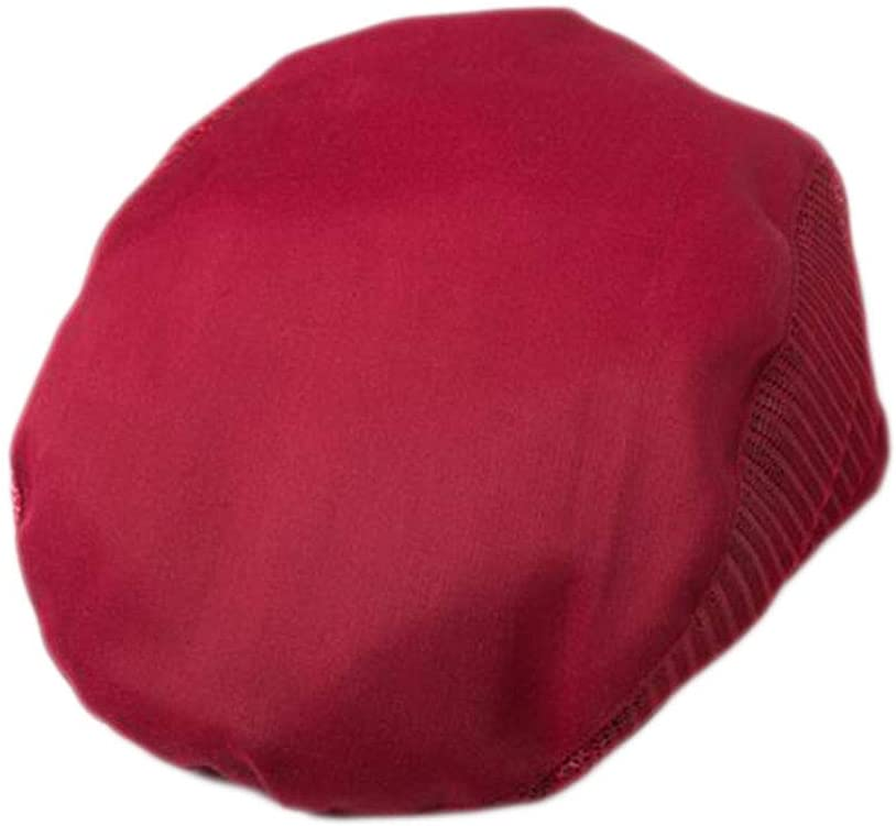 Fashion Cook Hats Hotel Cafe Breathable Mesh Chef Hats-Wine Red