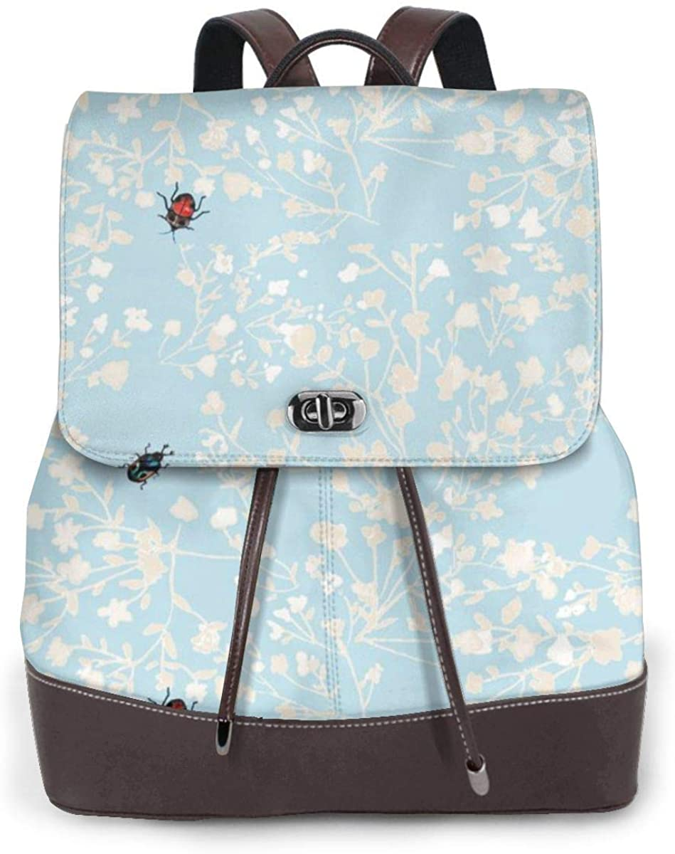 Womens Travel Backpack Leather Bags Purse (Watercolor Stripe)