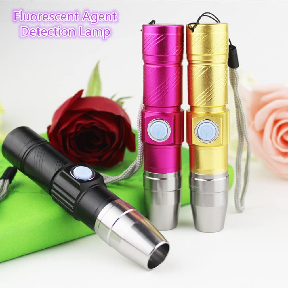 redcolourful 365NM USB Fluorescent Agent Detection Lamp Purple-Light Torch Jade Paper Currency Detection Light for Cleaning Supplies