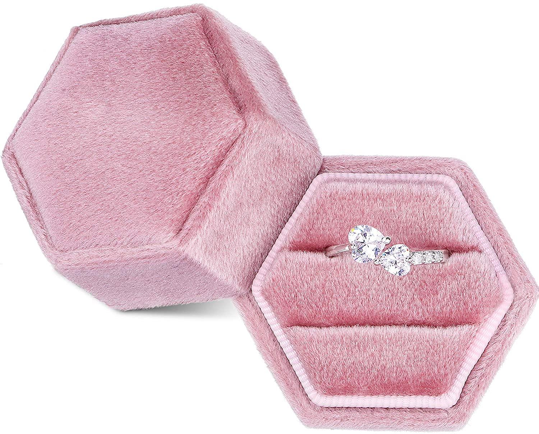 Velvet Ring Box Double Wedding Ring Box Hexagon Ring Box for Proposal Wedding