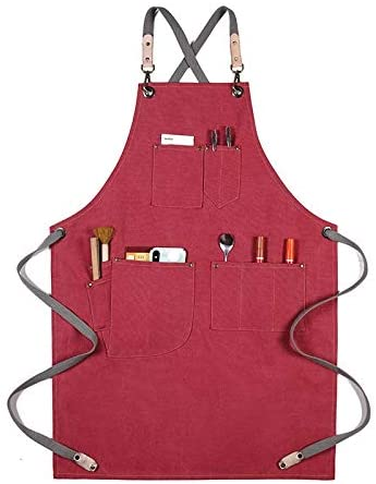 Cotton Canvas Apron Unisex Adjustable Leather Hanging Neck Hotel Restaurant Cafe Barber Shop Bakery Bar Waiter Work Pinafore (Color : 12, Size : OneSize)