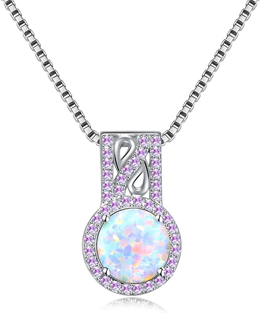 CiNily 14K White Gold Plated White Fire Opal Zircon Pendant Necklace for Women Girls Opal Jewelry Gift