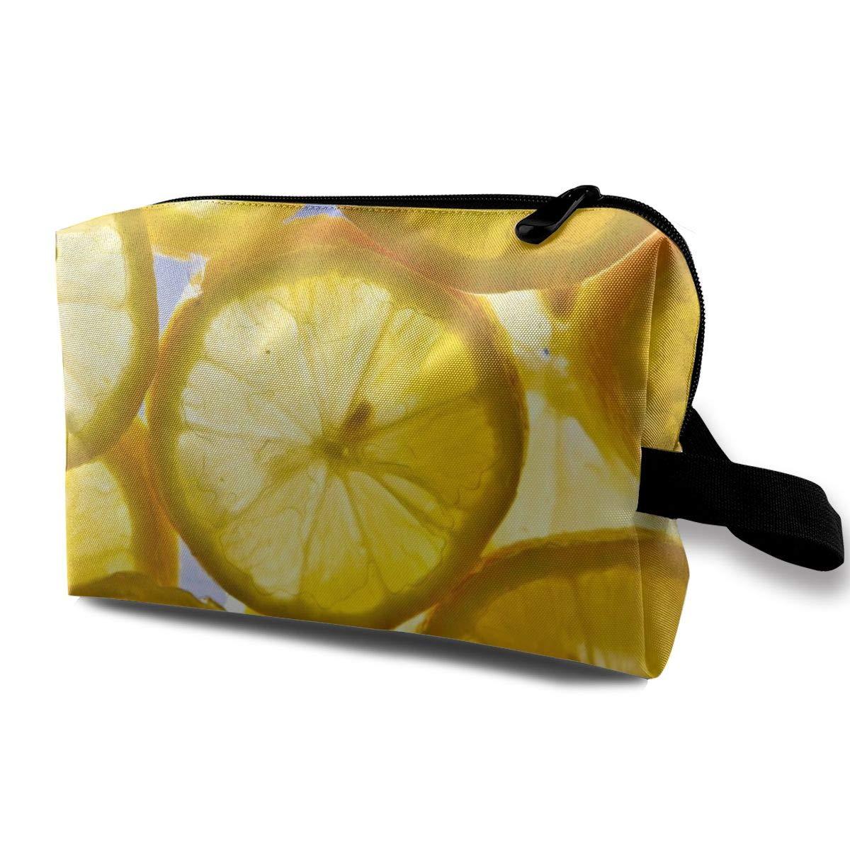 Orange And Lemon Pattern Toiletry Bag Multifunction Cosmetic Bag Portable Makeup Pouch Travel Organizer Bag For Women Girls