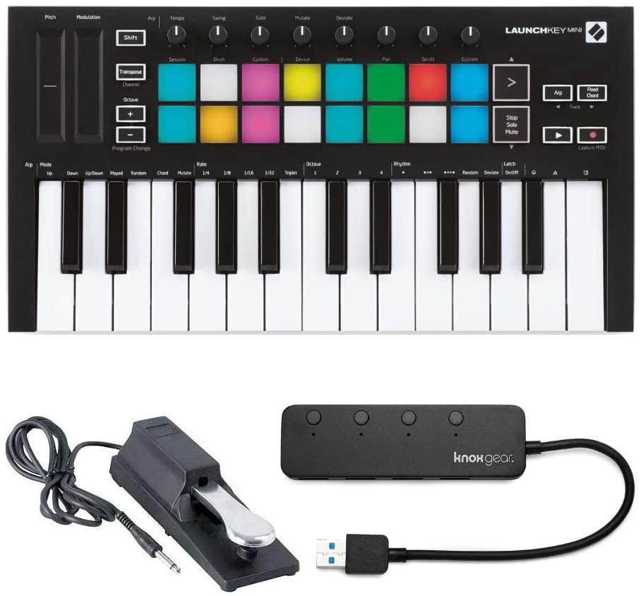 Novation Launchkey Mini MK3 25 Mini-Key MIDI Keyboard with Sustain Pedal and Knox 4 Port 3.0 USB Hub (3 Items)