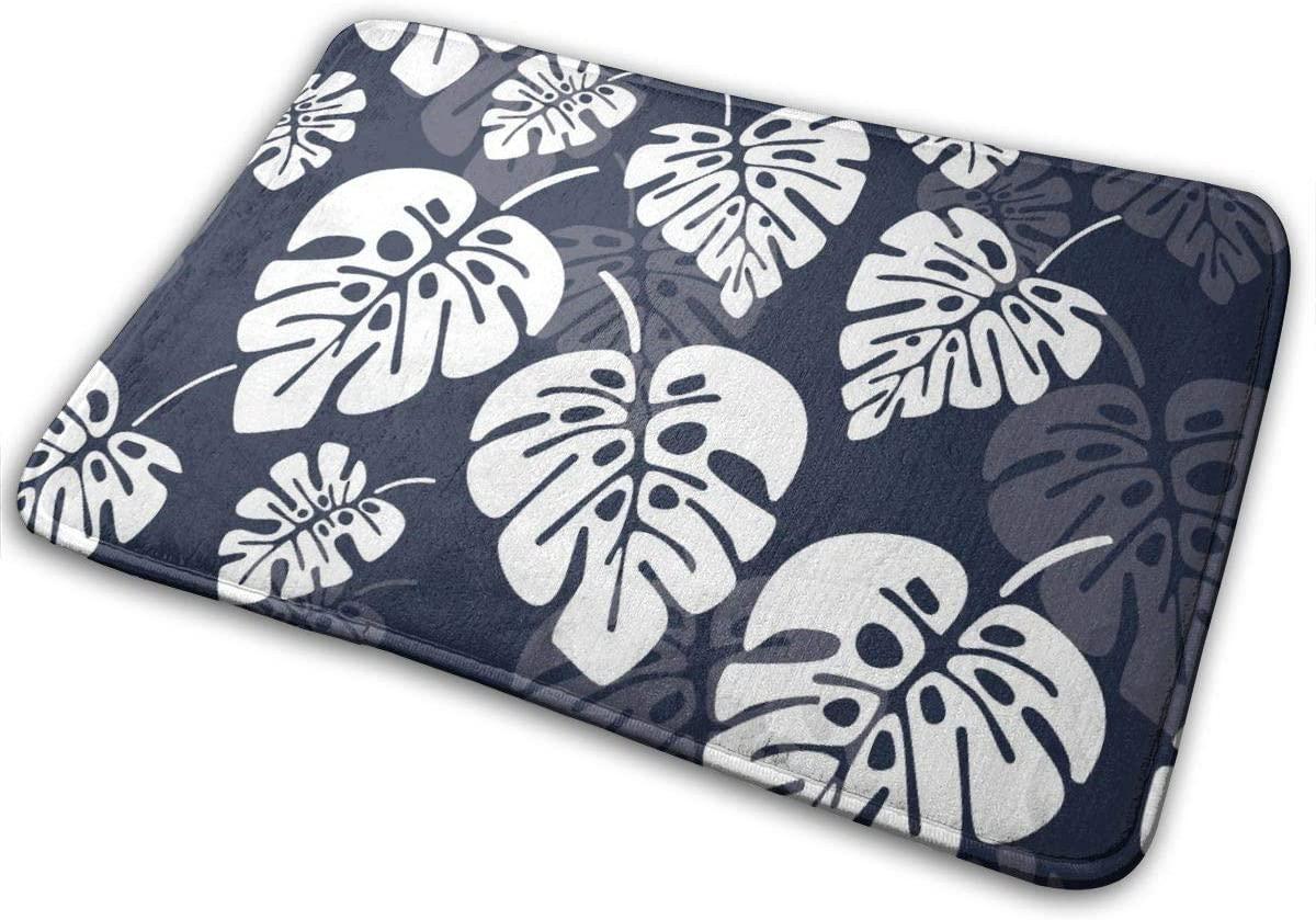 Bath Rug Memory Foam Bath Mat Non-Slip Floor Carpet Pad for Bathroom Washroom Restroom Doorway Thick Durable Quick-Drying Doormat Palm Leaf