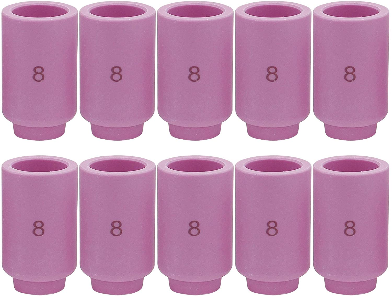 13N12 8# TIG Alumina Nozzle Ceramic Cups Fit PTA SR DB WP 9 20 25 TIG Welding Torch Accessories 10PK (13N12 8#)
