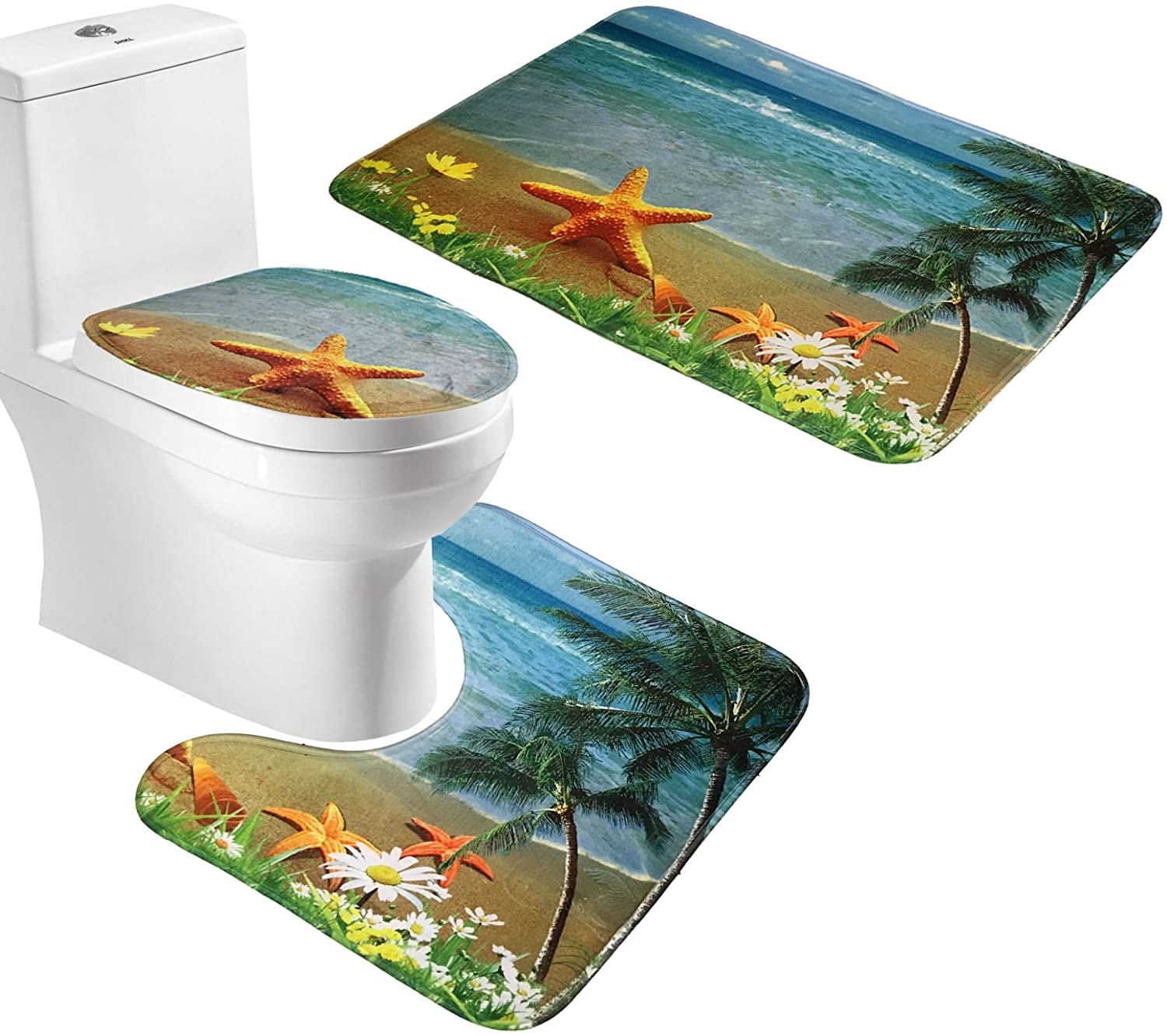 Amagical Seabeach Flannel 3 Pc Contour Toilet Cover and Rug Bathroom Mat Set Blue