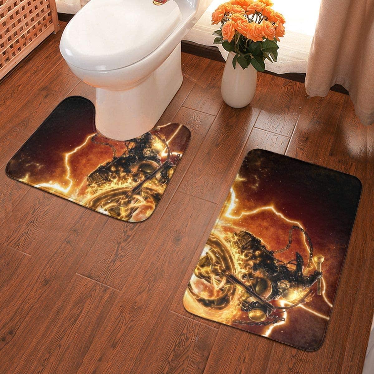 Boweike Ghost Rider Bathroom Antiskid Pad Non-Slip Bath Carpet Floor Mat Rug 2 Sets -Floor Mat+U-Shaped Pad, Toilet Washable Blanket Mats for Bathroom Home Shower