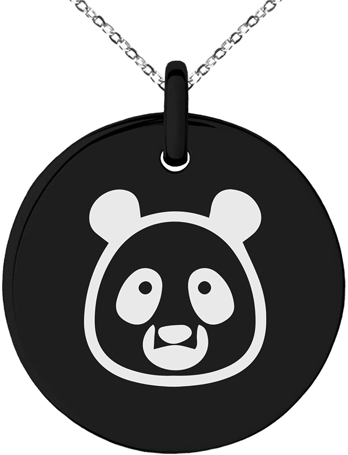 Tioneer Stainless Steel Panda Icon Small Medallion Circle Charm Pendant Necklace