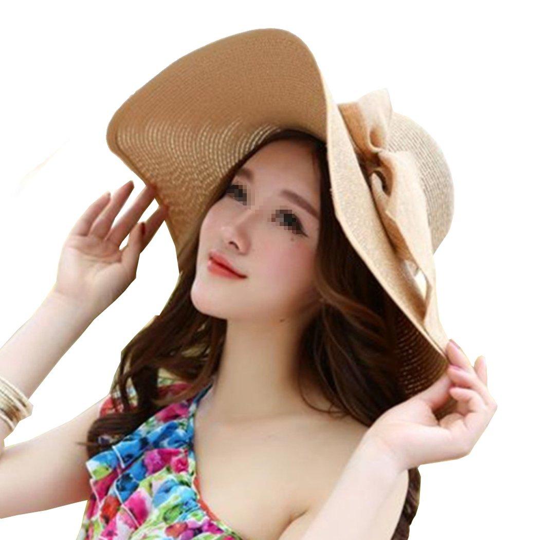 Women's Big Bowknot Straw Hat Foldable Floppy Wide Brim Beach Hat Sun UV Protection Visor Cap Roll up Sun Hat (Khaki)