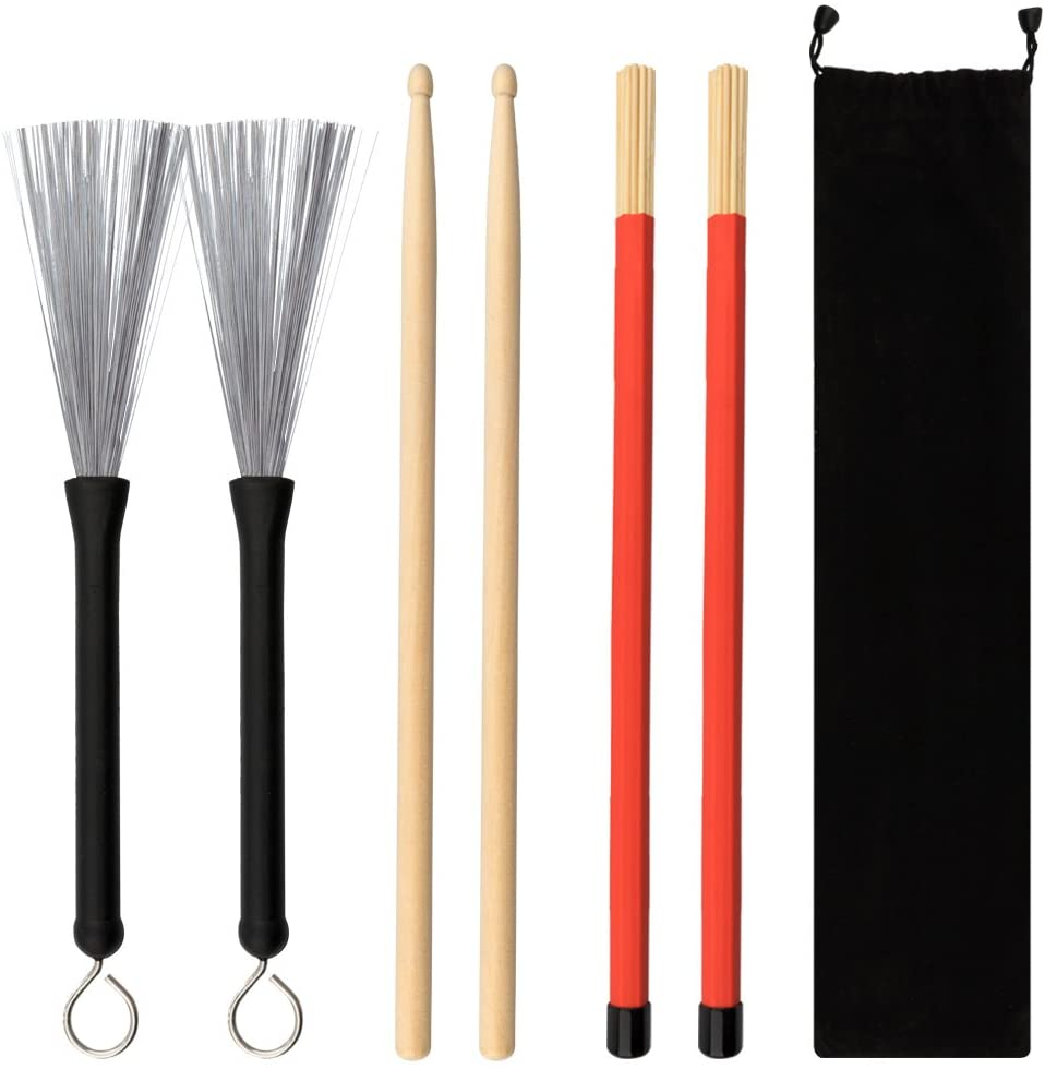 URlighting Drum Sticks Set - 1 Pair 5A Drum Sticks,1 Pair Drum Rod Brushes Sticks,1 Pair Drum Wire Brushes with Storage Bag for Kids, Adults, Rock Band, Jazz Folk, Students