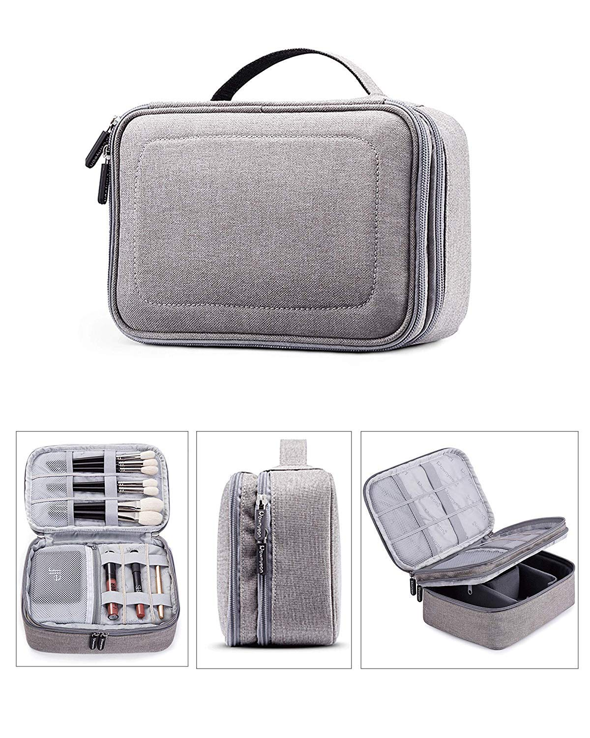 Rownyeon 3 Layers Waterproof Makeup Bag Cosmetic Bags Travel Organizer Mini Train Case with Adjustable Dividers for Cosmetics Makeup Brushes Toiletry Jewelry Digital Accessories (Grey-1 Small)