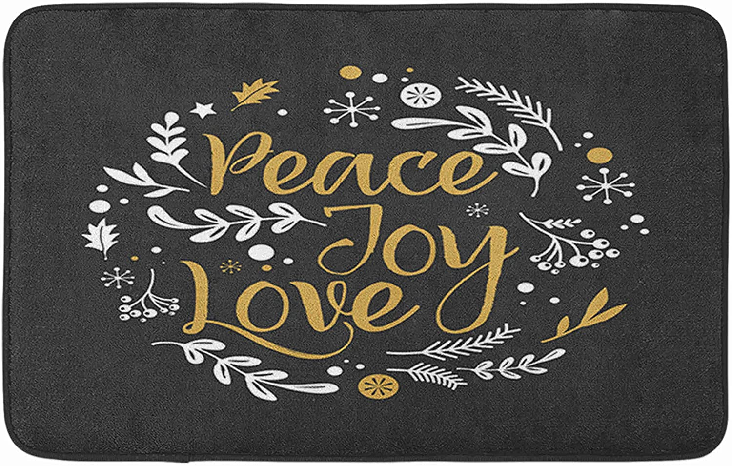 Adowyee Bath Mat Merry Christmas with Typography Lettering Greeting Peace Joy Love Winter Paper Xmas Cozy Bathroom Decor Bath Rug with Non Slip Backing 16