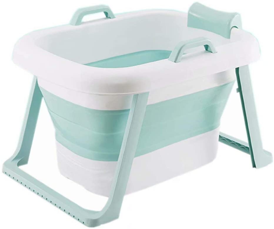 Folding Bathtub 3-in-1 Baby Bath tub, with Stand & Removable Bath Stool, Infants Bath Bucket Tub for Toddlers Newborns Shower, Age 0-10, give Away Bath Toys(Color:Blue)