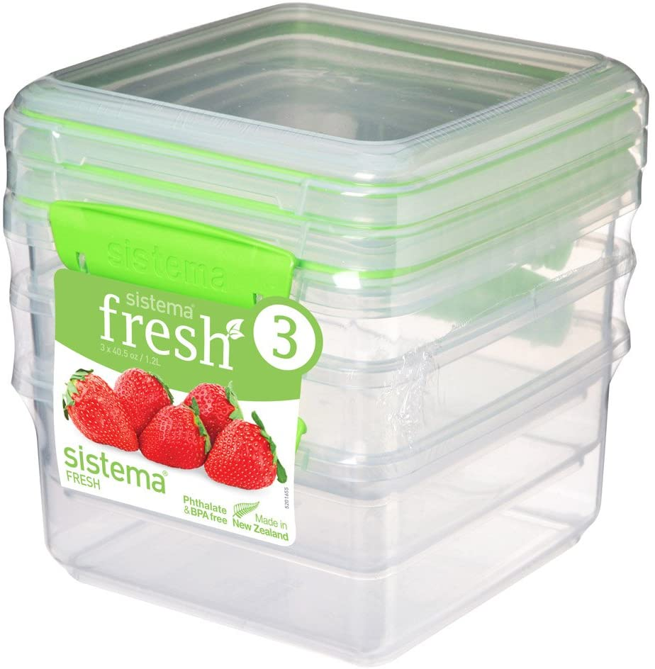 Sistema Fresh Collection Food Storage Containers, 5 Cup, 3 Pack, Clear/Lime Green