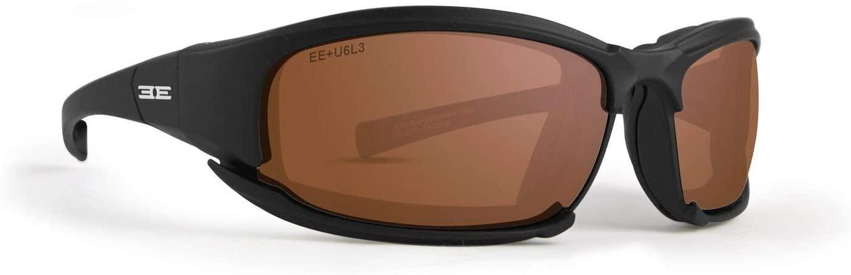 EPOCH Hybrid Motorcycle Sunglasses Black Frames Amber Lens ANSI Z87.1+