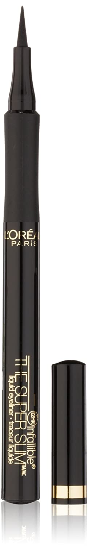 L'Oreal Paris Makeup Infallible Super Slim Long-Lasting Liquid Eyeliner, Ultra-Fine Felt Tip, Quick Drying Formula, Glides on Smoothly, Black, Pack of 1