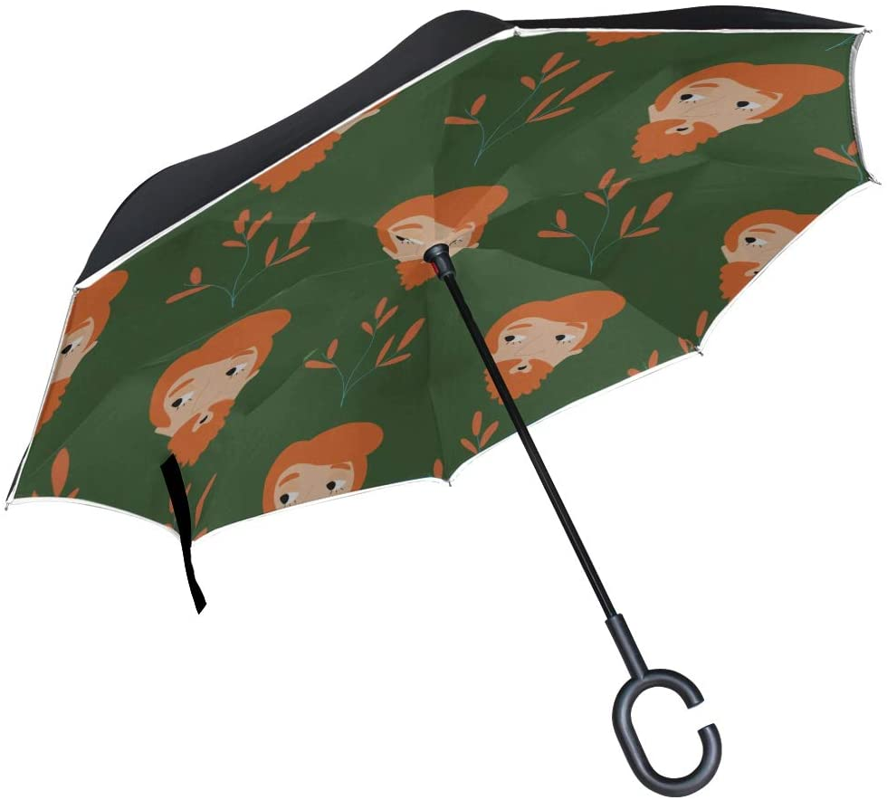 Double Layer Inverted Folding Chairs with Umbrella Fashion Retro Charming Mature Haircut Folding Chairs Umbrella Rain Inverted Umbrella Windproof Uv Protection for Rain with C-Shaped Handle
