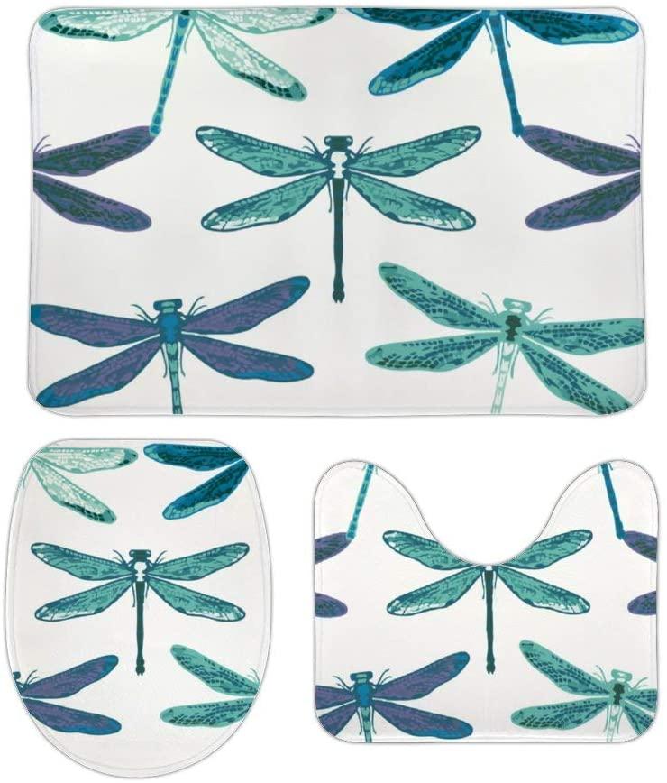 Tamengi Dragonfly Print Bath Mat 3 Piece Bathroom Rugs Set, Dragonfly Print Absorbent Non-Slip Bath Mats, Absorbent Memory Foam Soft Shower Bath Rugs Contour Mat and Lid Cover 16x24''
