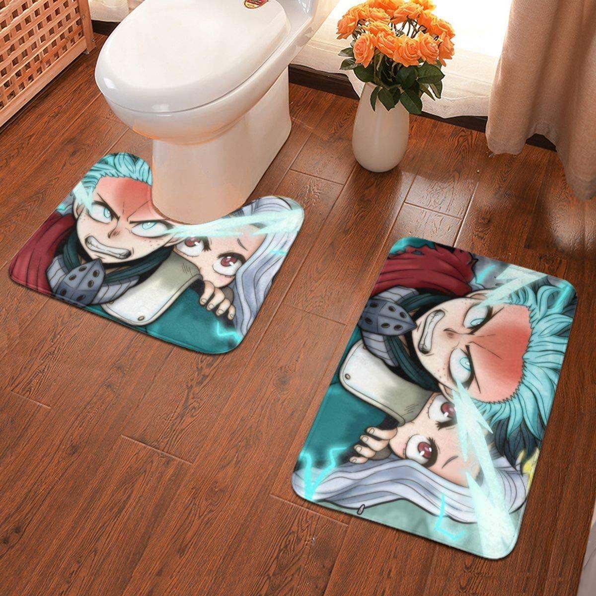 Boweike My Hero Academia Bathroom Antiskid Pad Non-Slip Bath Carpet Floor Mat Rug 2 Sets -Floor Mat+U-Shaped Pad, Toilet Washable Blanket Mats for Bathroom Home Shower