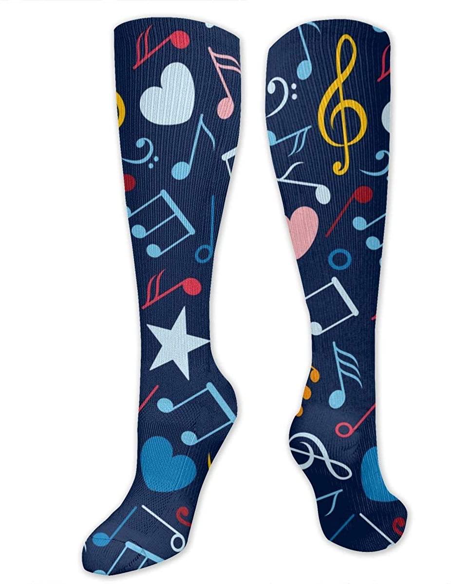 Colorful Music Notes Athletic Socks Thigh Stockings Over Knee Leg High Socks