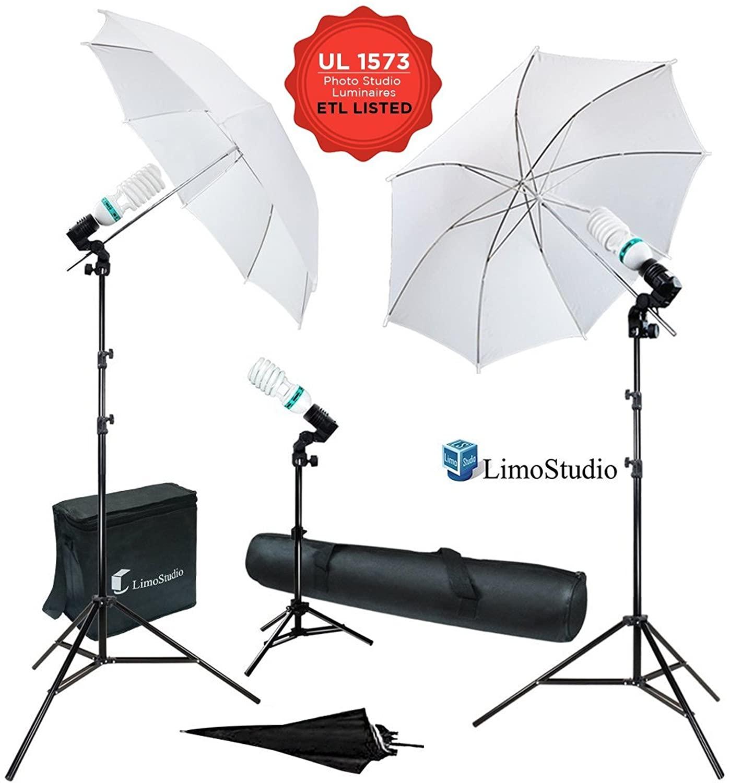 LimoStudio 600W 5500K Photo Video Studio Continuous Lighting Bundle Kit UL1573 ETL Listed Photo Bulb Socket, White/Black Umbrella Reflector, Stand Carry Bag, Light Stand Tripod, AGG340V2
