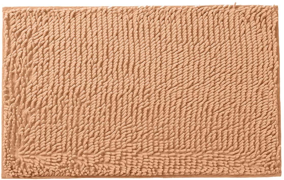 Sue&Joe Non-Slip Bathroom Rug Shag Shower Mat Machine-Washable Bath Mats with Water Absorbent Soft Microfibers, 20 x 32 Inches, Camel
