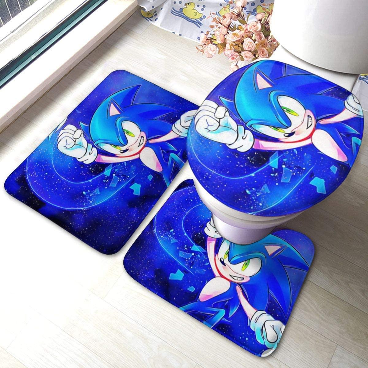 Sonic The Hedgehog Bath Rug 3 Piece Set Memory Foam Water-Absorbent Doormat Bathroom Rug Carpet U-Shaped Contour Rug + Toilet Lid Cover + Bath Mat Pad 23.5'' X 15.7''