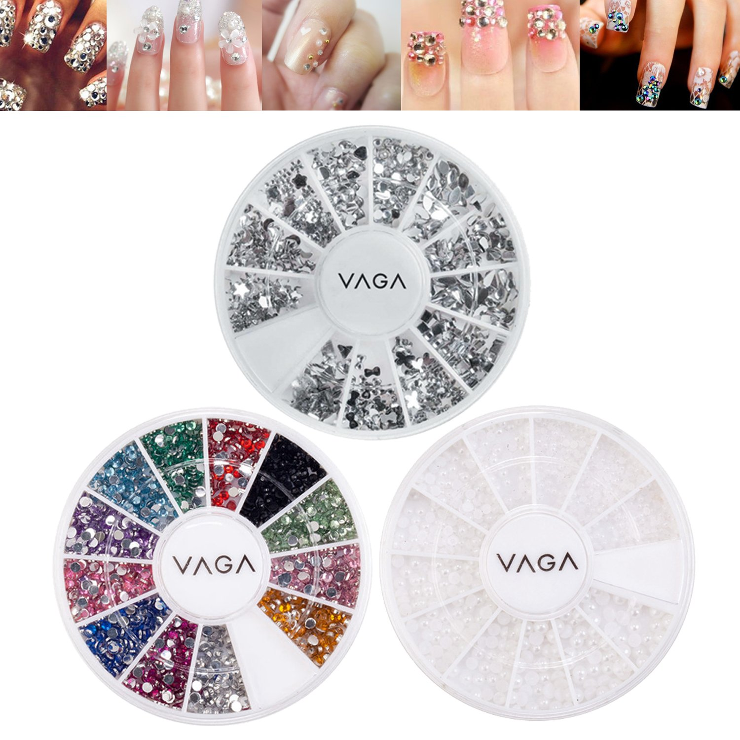 Professional Nail Art Set With Silver Gems / Rhinestones / Crystals In Different Shapes, Premium Gemstones / Jewels In 12 Colors And White Pearls Beads Decorations By VAGA
