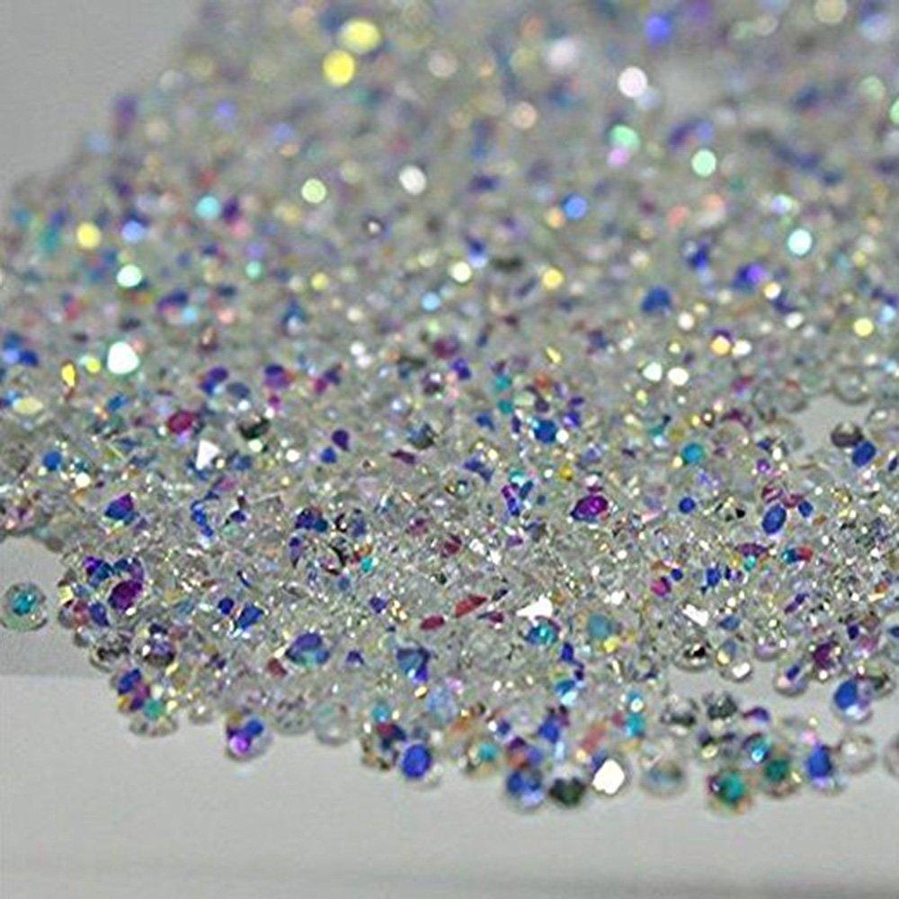 MIOBLET 2880Pcs 1.2mm Ultra Mini Diamond Diy Crystal Nail Rhinestones Need Glue Nail Art Decoration Accessories Manicure Clear Ab + Clear (2 Packs)
