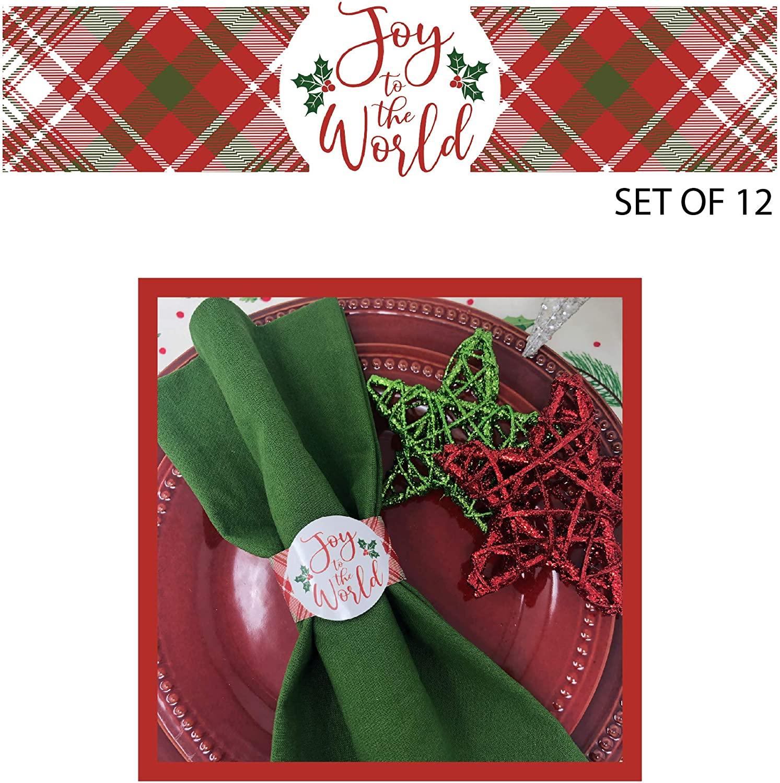 Christmas Napkin Ring - Joy to The World (Set of 12)