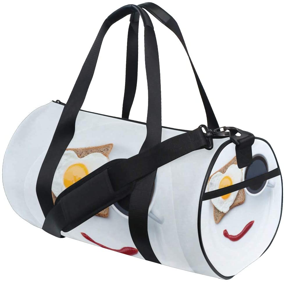 Fitness Travel Drum Art Food Bread Heart Coffee Cup Breakfast for Women and Men Light Duffle Sports Bags Gym