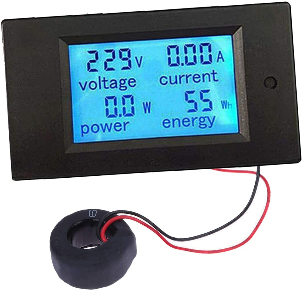 Bleiou AC 80-260V 100A Digital Current Voltage Amperage Power Energy Meter LCD Display Multimeter Ammeter Voltmeter