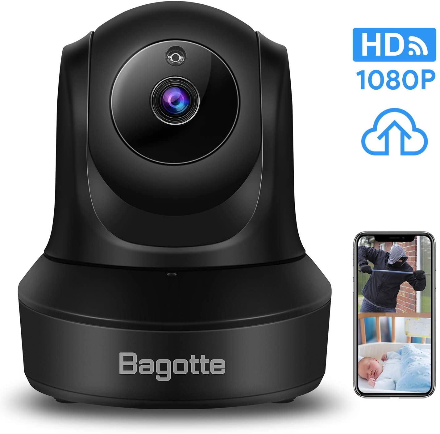 WiFi Security Camera, Bagotte 1080P HD Home Wireless IP Camera, Surveillance Cloud Cam Features Night Vision/ 2-Way Audio/Motion Detection/128G Memory Card Slot for Baby Monitor/Pet Dog Security