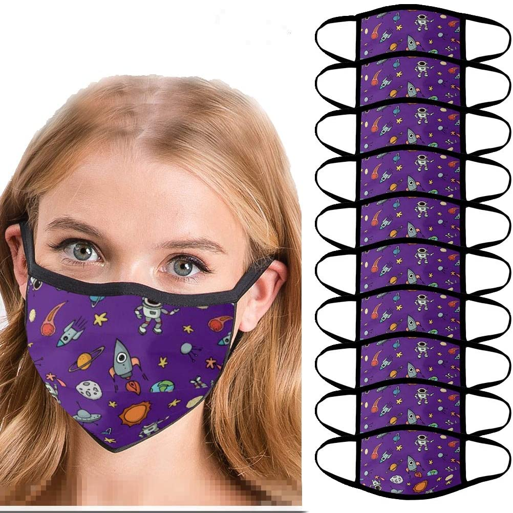 Padaleks 10 Pack Reusable Washable Face Màsc Bandanas Planet Space Printed Madks Dust Sun Protection for Cycling Hiking