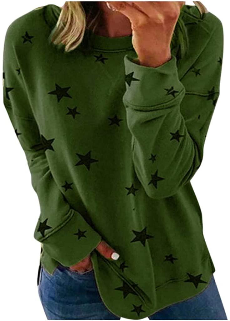Aniywn Women Round Neck Long Sleeve Star Print Pullover Sweatshirt Spring Autumn Lightweight Tops Blouse