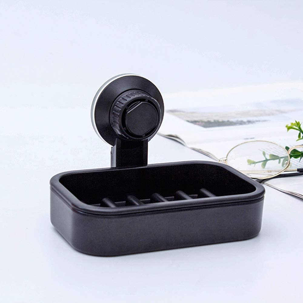 1 Vacuum Suction Cup Hooks, 1 Suction Cup Soap Dish, ABS is The Main Material, Super Suction can be Unloaded and can be Reused, Saving You Space, Suitable for Bathroom, Kitchen (Black)