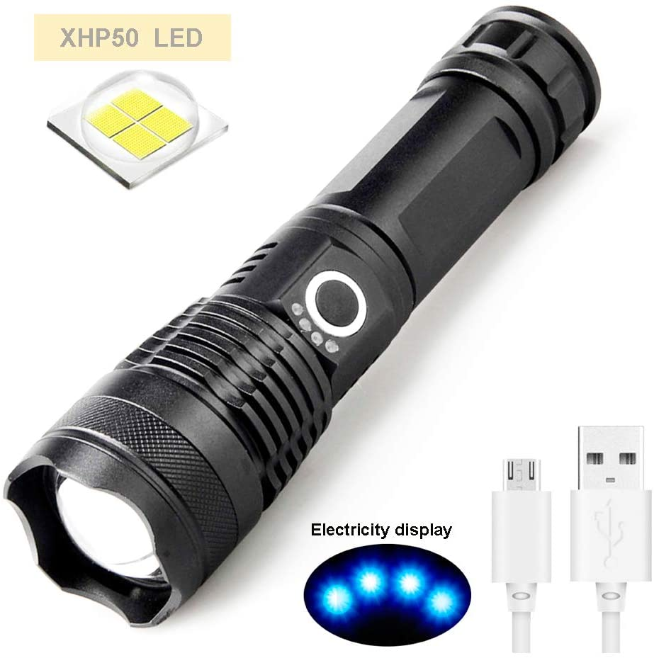 Tactical Flashlight MinChen Ultra Bright XHP50 LED Flash Light 5 Modes Zoom Adjustable USB Rechargeable Flashlight with 18650 Batteries
