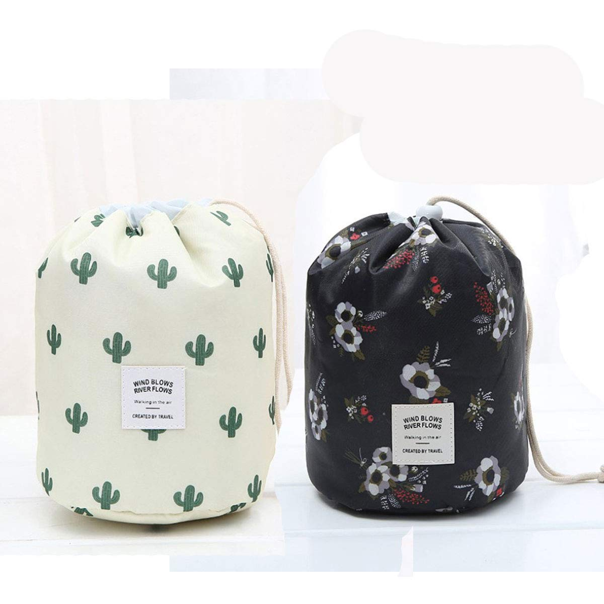 UpOne Barrel Makeup Bags, Travel Large Capacity Waterproof Portable Fashion Drawstring Cosmetic Toiletry Bag(Bag Only), Pack of 2 (Flower + Cactus)
