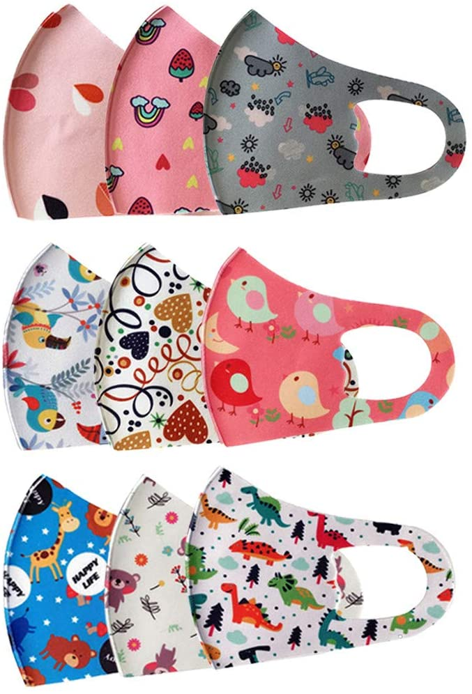9pcs Kids Lovely Face Bandanas, Reusable Washable Adjustable Cartoon Mouth Protection Dustproof Anti-Foggy Haze Protector for Boys and Girls Use Indoor Outdoor Home School