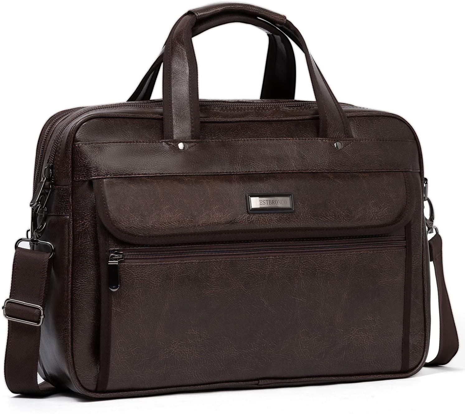 WESTBRONCO Leather Briefcase for Men Laptop Expandable Large Capacity Shoulder Messenger Bag for Men Travel Business College