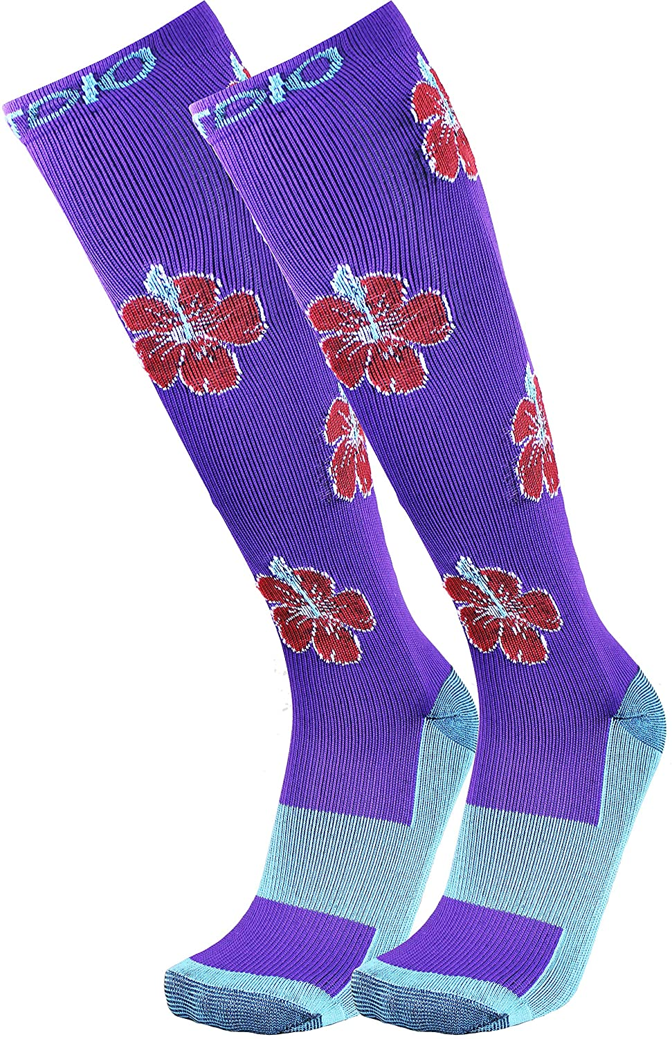 Vivid Orchid Graduated 15-20mmHG Knee High Compression Socks For Men & Women, Purple